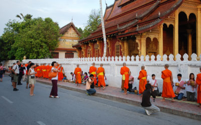Morning alms in Luang Prabang: religious tradition turned into tourist spectacle