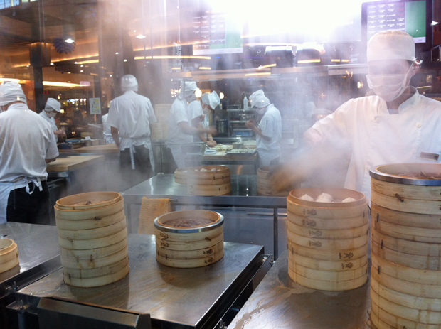 steamed dumplings at Din Tai Fung