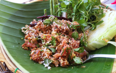 Tasty Laos Eats: Nam khao – Lao crispy rice salad
